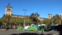 Vista de l'acampada a la plaça Universitat, en una imatge d'aquesta setmana