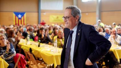 El president de la Generalitat, Quim Torra, aquest diumenge en un dinar groc a Bescanó