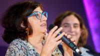 Rosa Lluch, en un acte de campanya a Girona amb Ada Colau, el passat 5 de novembre