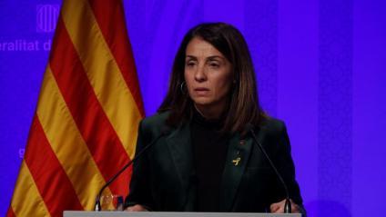 La portaveu del govern, Meritxell Budó, durant la presentació dijous de l'enquesta del CEO