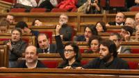El líder del PSC, Miquel Iceta, i els diputats socialistes Eva Granados i Ferran Pedrat, en una imatge recent al Parlament