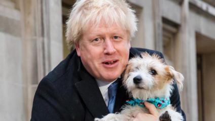 El candidat laborista, Boris Johnson, amb el seu gos Dylan després de votar en un col·legi electoral