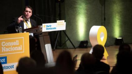 El president del PDeCAT, David Bonvehí, aquest dissabte al Consell Nacional del partit