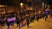 La manifestació feminista d'aquest diumenge a Manresa, al final del seu recorregut davant els jutjats