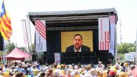 El president d'ERC, Oriol Junqueras, en un vídeo projectat a la manifestació 'Omplim Estrasburg', al juliol