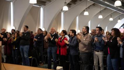 Pere Aragonès i altres membres d'ERC al Congrés Regional de la Federació de Girona, aquest dissabte a Salt