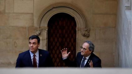 Els presidents Pedro Sánchez i Quim Torra, el passat 6 de febrer a Barcelona