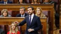 El líder del PP, Pablo Casado, aquest dimecres al Congrés dels Diputats