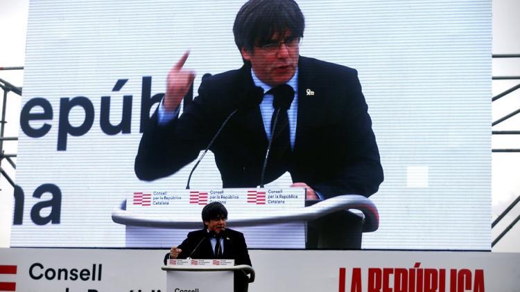 Carles Puigdemont durant el seu discurs a Perpinyà