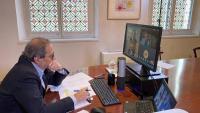 El president de la Generalitat, Quim Torra, durant una videoconferència aquest divendres al seu despatx
