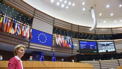 La presidenta de la CE, Ursula von der Leyen, aquest dimecres a l'Eurocambra