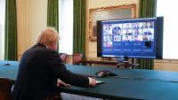 El primer ministre britànic, Boris Johnson, durant la compareixença telemàtica davant el comitè d'enllaç del Parlament