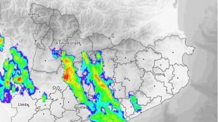 Composició de radar de la tempesta, a 2/4 de 9 de la nit