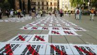 Els participants en la protesta han format un mosaic amb domassos, a la plaça de la Catedral
