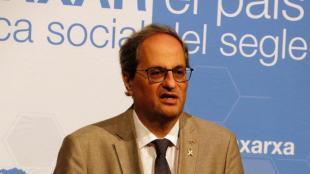 El president de la Generalitat, Quim Torra, aquest dissabte a Sant Mateu de Bages