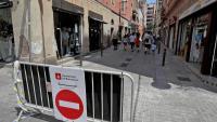 Un carrer tallat al trànsit, dissabte passat a la Vila de Gràcia