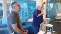 El gerent d'Ematsa, Daniel Milán i el president de la companyia, Jordi Fortuny, durant la presentació del sistema de detecció i anàlisi de la SARS-CoV-2 a les aigües residuals de Tarragona