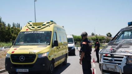 Un control dels Mossos en un dels accessos a Lleida, aquest dilluns