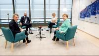 Els presidents de les institucions europees, David Sassoli, Charles Michei i Ursula von der Leyen, i la cancellera alemanya, Angela Merkel, aquest dimecres a Brussel·les