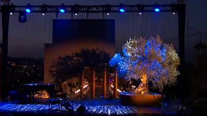 Vista de l'escenari de l'acte, a Montjuïc