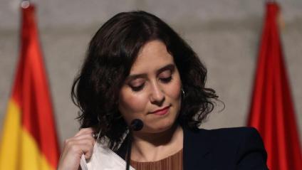 La presidenta de Madrid, Isabel Díaz Ayuso, a la roda de premsa on ha presentat les mesures