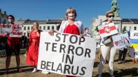 Protesta contra el règim de Lukaixenko, aquest dilluns a Brussel·les