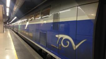 Un TAV de la companyia SNCF a l'estació de Sants