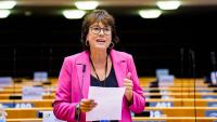 L'eurodiputada d'ERC Diana Riba, aquest dimarts a l'Eurocambra