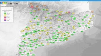 Mapa d'intensitat del vent aquest migdia