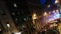 La manifestació dels col·lectius universitaris, a la Via Laietana