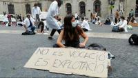 Imatge d'una protesta dels MIR a la plaça Sant Jaume