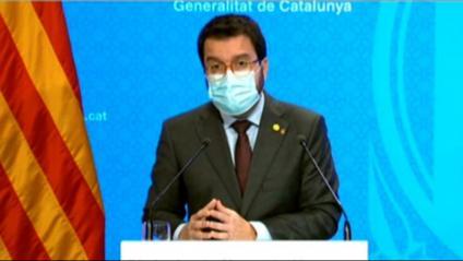 El vicepresident del govern, Pere Aragonès, durant la roda de premsa d'aquest divendres