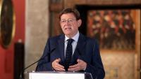 El president valencià, Ximo Puig, durant la declaració institucional d'aquest dissabte