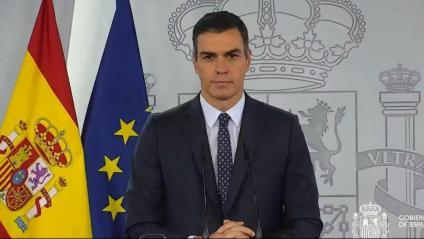 El president del govern espanyol, Pedro Sánchez, durant la roda de premsa d'aquest diumenge