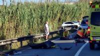Una imatge del lloc de l'accident, on han mort dos ciclistes i un tercer ha quedat ferit greu