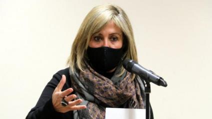 L'alcaldessa de l'Hospitalet de Llobregat, Núria Marín, en una compareixença després de la seva detenció per la UDEF el passat desembre
