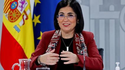 La ministra de Sanitat, Carolina Darias, a la roda de premsa posterior al Consell Interterritorial d'aquest dimecres