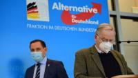 Els diputats d'Alternativa per Alemanya Tino Chrupalla (e) i Alexander Gauland (d), en una roda de premsa dimecres al Parlament