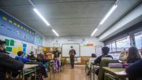 Imatge d'una aula, en una escola de Girona