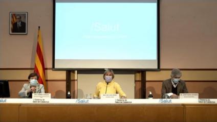 Carmen Cabezas, Alba Vergés i Josep Maria Argimon, a l'inici de la compareixença