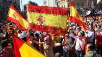 Banderes d'Espanya a una manifestació d'SCC, el 29 d'octubre de 2017