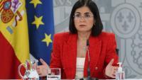 La ministra de Sanitat, Carolina Darias, a la roda de premsa d'aquest dimecres