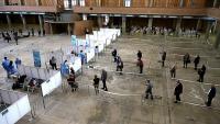 Vacunació al Palau de Fires, ahir dilluns a Girona