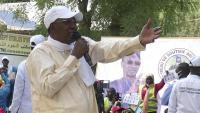 Idriss Déby, durant un acte de campanya a principis d'abril
