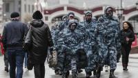 Policies russos, patrullant aquest dimecres a Moscou en prevenció de manifestacions de l'oposició