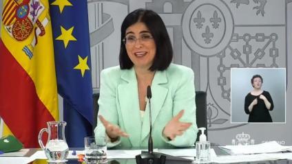 La ministra de Sanitat, Carolina Darias, a la roda de premsa posterior al Consell Interterritorial de Salut