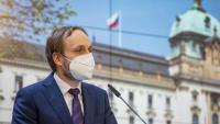 El ministre txec d'Afers Exteriors, Jakub Kulhanek, durant la declaració d'aquest dijous a Praga