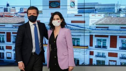 El líder del PP, Pablo Casado, i la presidenta de la Comunitat de Madrid, Isabel Díaz Ayuso
