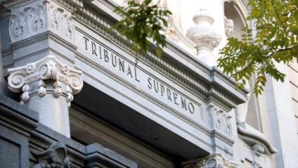 Detall de la façana del Tribunal Suprem, a Madrid