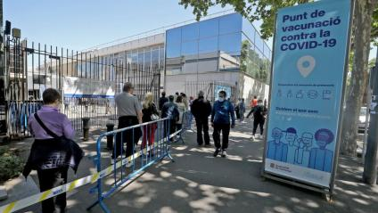 Cua al punt de vacunació de la Fira de Barcelona, en una imatge recent